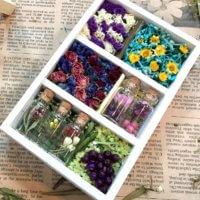 ハーバリウムの残りの花材を使って「お花箱」をDIYしてみました♡の画像
